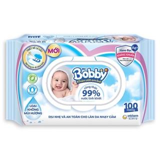 KHĂN ƯỚT BOBBY LOẠI KHÔNG MÙI 100 miếng(xanh)