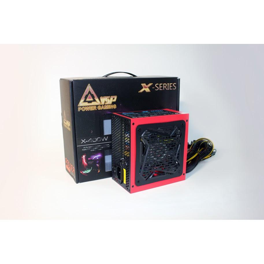 Nguồn công suất thực dành cho máy tính VSP ATX400W - Fan 12cm có đèn led tặng dây nguồn