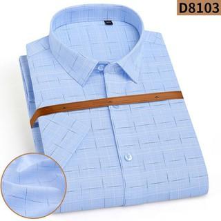 [Somicongso.com] Sơ mi nam sợi tre cộc tay caro màu xanh dương D8103