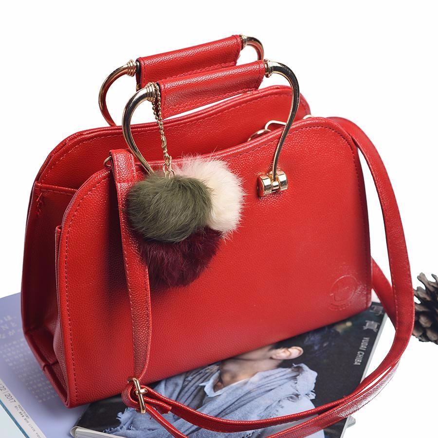 Túi Xách Thời Trang Cao Cấp trang trí quả bông TXN 22 ( màu đỏ)