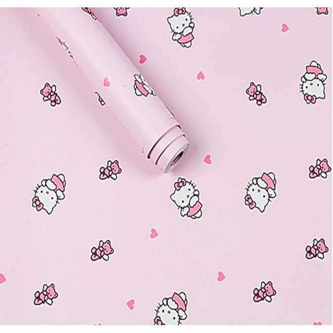 5m giấy dán tường kitty tim không cần keo - khổ 0.45m