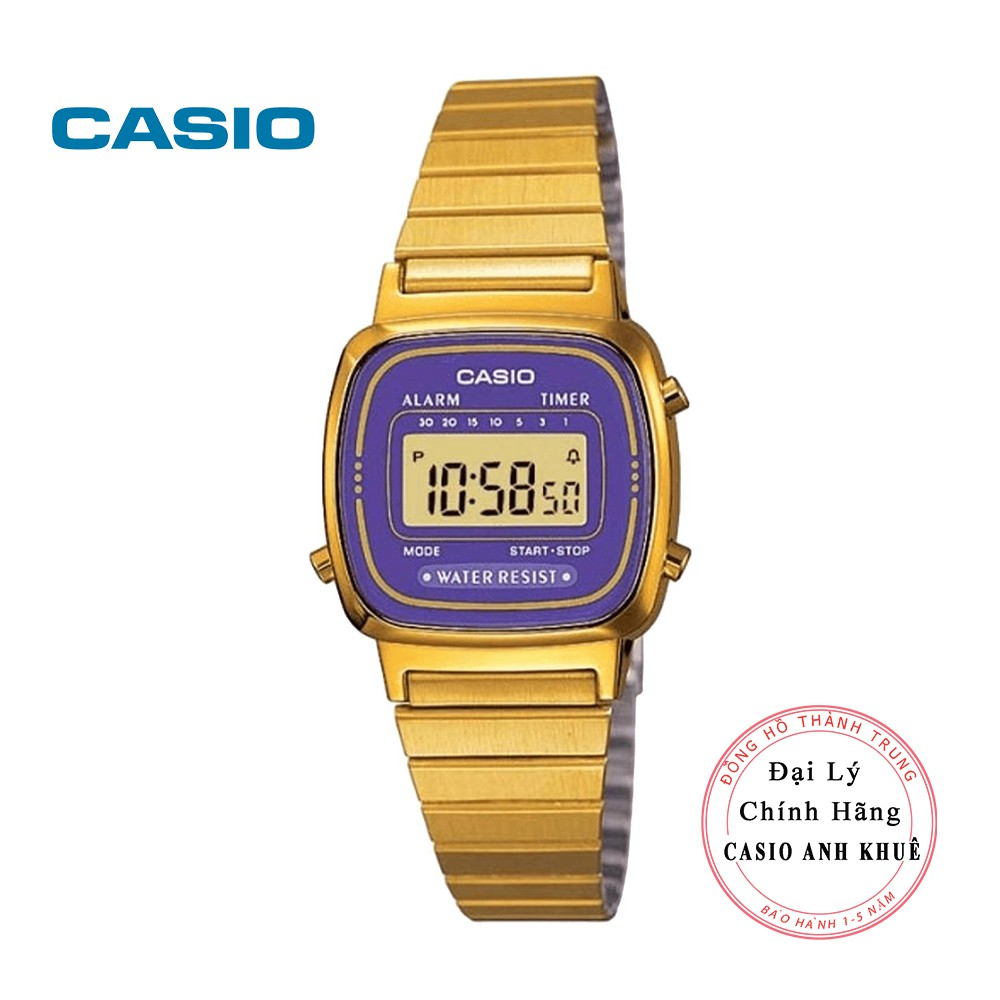 Đồng hồ điện tử nữ Casio LA670WGA-6DF dây kim loại