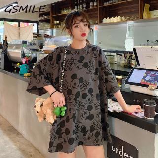 Áo Thun Nữ Tay Ngắn In Hình Chuột Mickey Thời Trang Hàn Quốc