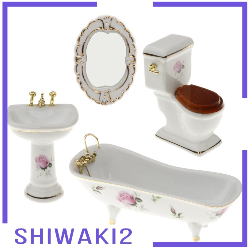 [SHIWAKI2] 4pcs 1/12 Miniature Floral Bathtub Toilet Dollhouse Bathroom Furniture #5