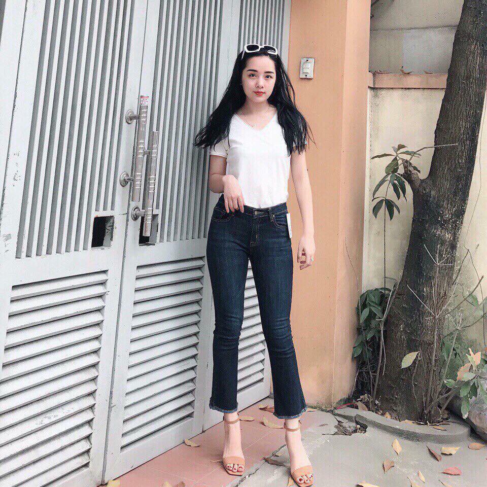 Quần jeans 9 tấc ống loe màu đậm nữ cao cấp