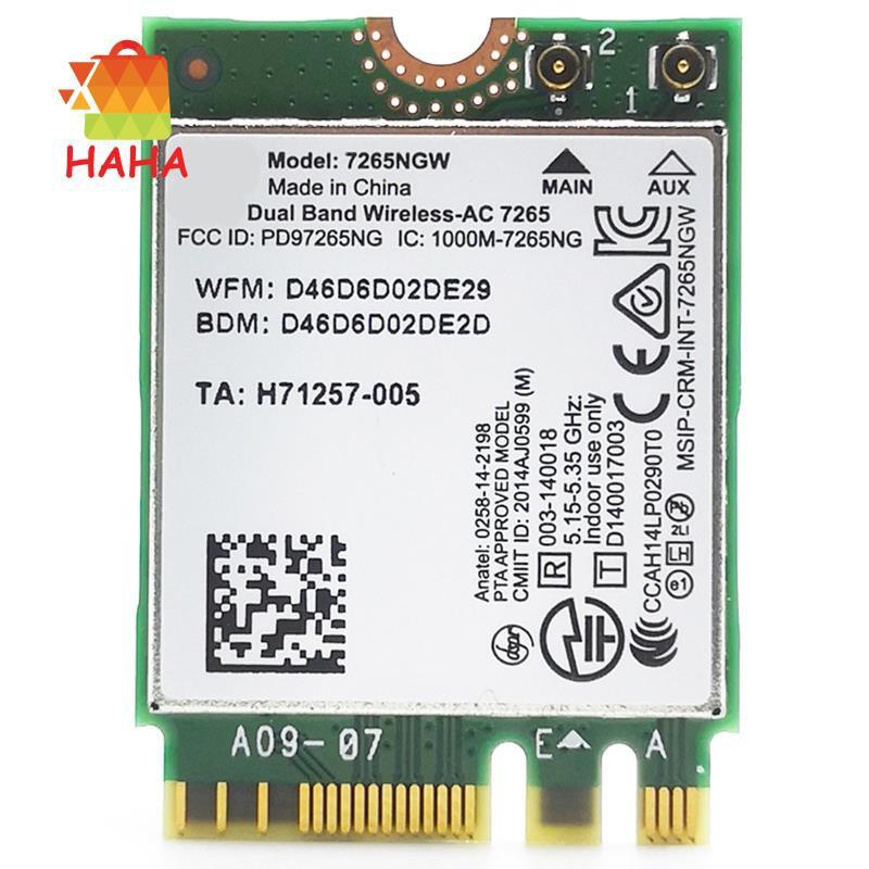 Thẻ Không Dây Wlan M.2 Cho Intel Dual Band 7260 Wifi + Bluetooth Bt 4.0