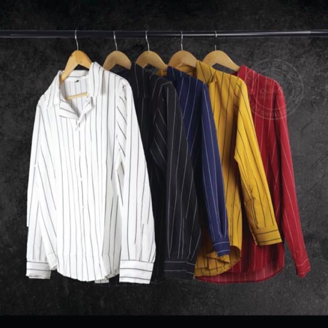Áo sơ mi lụa dài tay kẻ sọc cổ Vest nam nữ unisex đôi cặp mịn siêu mát kiểu style Hàn Quốc giá rẻ BTS [MỚI] (7 màu) - Dài tay Dài tay