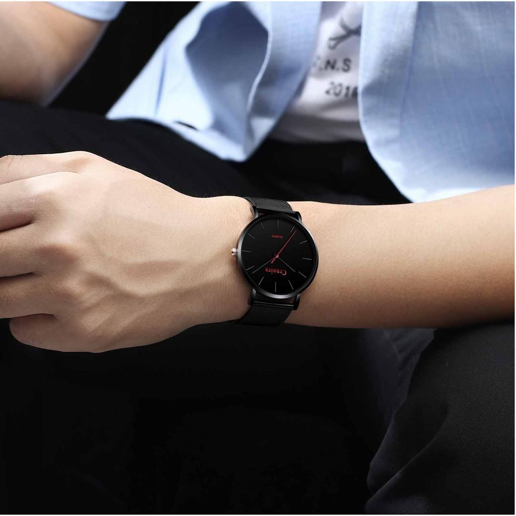 Đồng hồ nam chính chãng Crnaira CR04 dây thép nhuyễn cực đẹp, mỏng chỉ 7mm, lịch lãm, phong cách