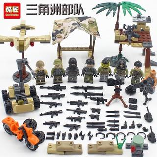Đồ chơi lắp ráp lego army xếp hình nhân vật, xe và phụ kiện K202 trọn bộ 4 hộp.