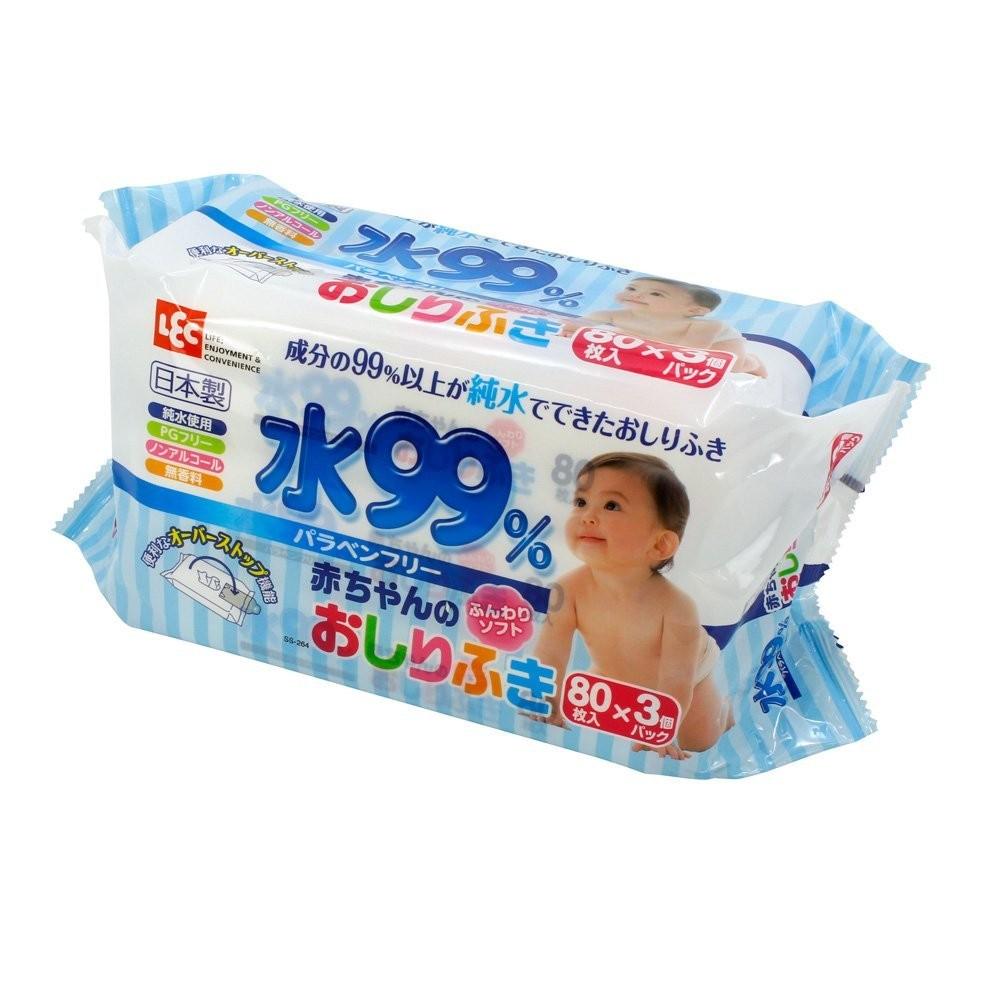 Giấy ướt LEC nước tinh khiết 99% SS264 80 tờ x 3 gói