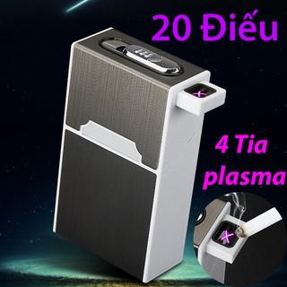 Hộp đựng thuốc kiêm bật lửa điện tử sạc pin công nghệ plasma 4 tia mồi thuốc siêu tốc