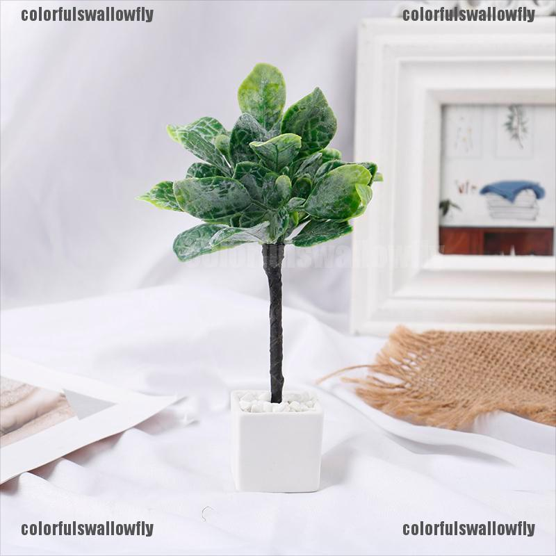 Colorfulswallowfly 1:12 Dollhouse Miniature Potted Plant Pot Green Leafed Plant Doll Garden Decor CSF