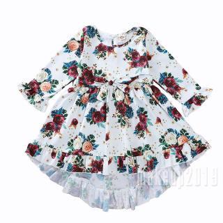 Mu♫-2-7 Years Little Girls Irregular Hem Dress Long Sleeve Ruffle Vintage Floral Overall Clothes