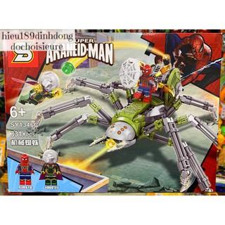 Lắp ráp xếp hình Lego siêu anh hùng SY 1346 mẫu C : Cỗ máy nhện đại chiến Mysterio 331+ mảnh