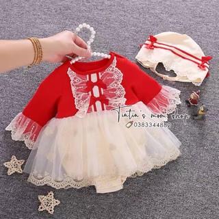 Set váy công chúa voan cao cấp đỏ tay ren MOMOIDEA cho bé gái đầy tháng/ thôi nôi (Kèm Mũ)