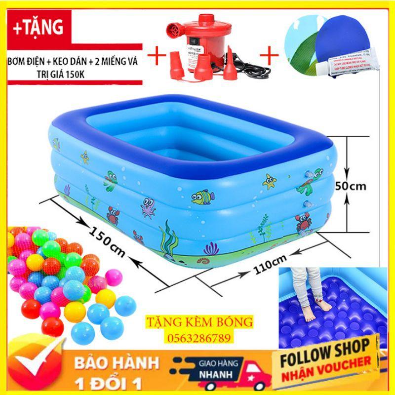 [TẶNG BƠM TAY + Bộ Vá Bể ] Bể Bơi Phao Trẻ Em 1.5m/ Bể Bơi Cho Bé / Bể Bơi Người Lớn Trong Nhà Hình Chữ Nhật