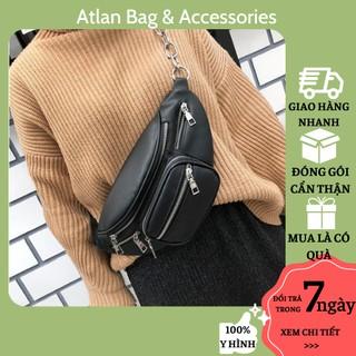 Túi bao tử nữ đeo chéo đeo ngang hông da mềm chất đẹp ATLAN Túi đeo bụng Quảng Châu hottrend dây xích cá tính - T011 thumbnail