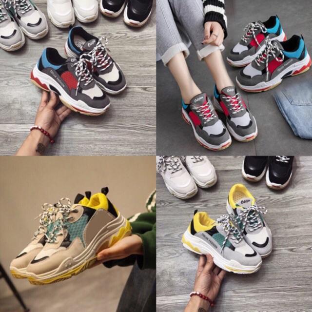 Giày thể thao đế tách 022 phong cách hàn quốc ( xanh xám,vàng )