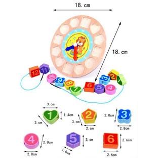 [HOT]Đồ chơi đồng hồ gỗ xâu hạt hoạt hình cho bé – Toca Toys