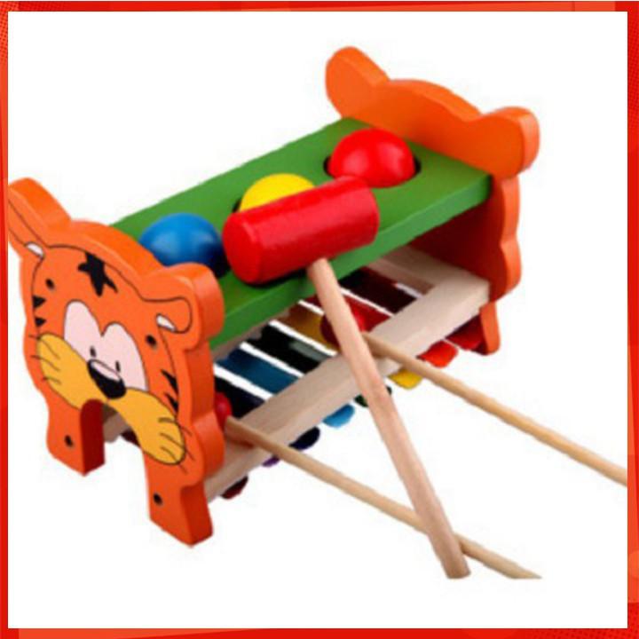 [ẢNH TỰ CHỤP] Đồ chơi đập bóng kết hợp đàn gỗ - Đồ chơi gỗ [BÁN CHẠY]