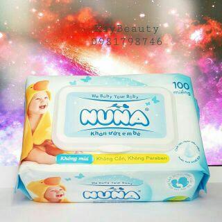 Khăn ướt cho bé Nuna nắp nhựa an toàn diệt khuẩn - Khăn giấy ướt loại 100 tờ an toàn vệ sinh