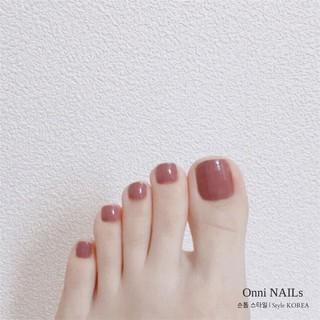 Set 24 móng chân giả trơn thời trang cho nữ + Chai keo thumbnail