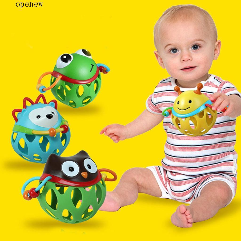 op Baby Cute Cartoon Hand Catching Ball Roll Around Rattle Soft Development Toy