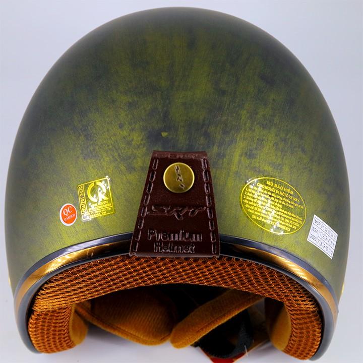 Mũ bảo hiểm 3/4 SRT - viền đồng - Custom Màu xanh dưa hấu - tặng lưỡi trai