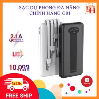 Sạc Dự Phòng G01 chính hãng SD DESIGN Pin 10.000 mAh có 4 Cáp Sạc Micro Lingtning TypeC chân sạc cho iphone samsung oppo