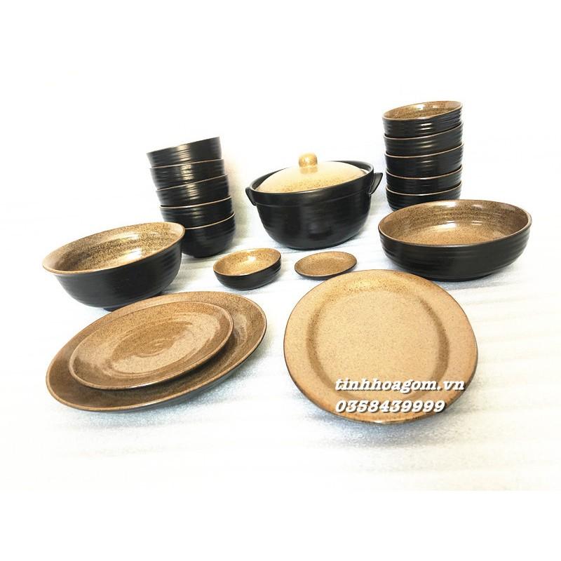 Bộ bát đĩa ăn 18 món men cổ Bát Tràng