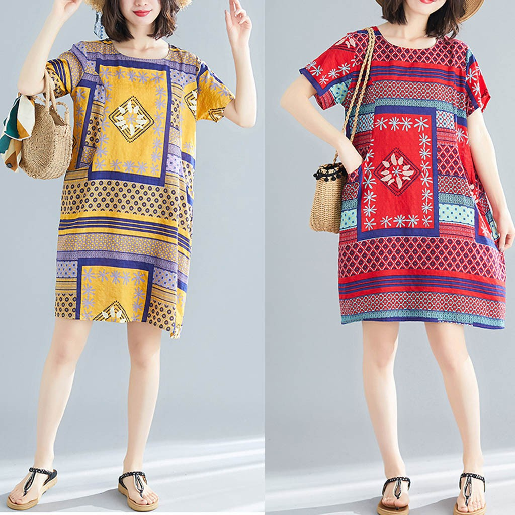 Women Summer Vintage Print Abstract Short Sleeve Loose Casual Dress