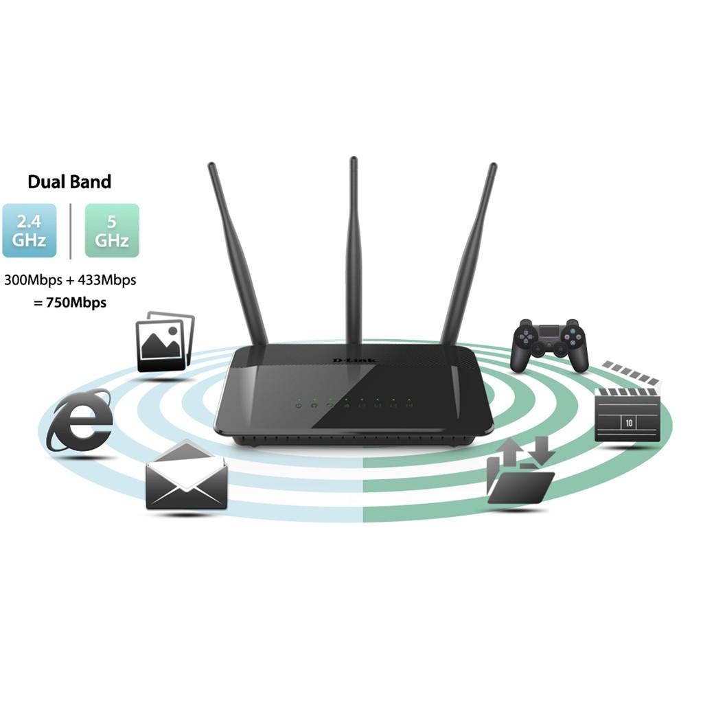 Thiết Bị Phát Sóng Wifi 2 Băng Tần DLINK DIR-809 AC750 Wireless Dual Band Router- Hàng Chính Hãng
