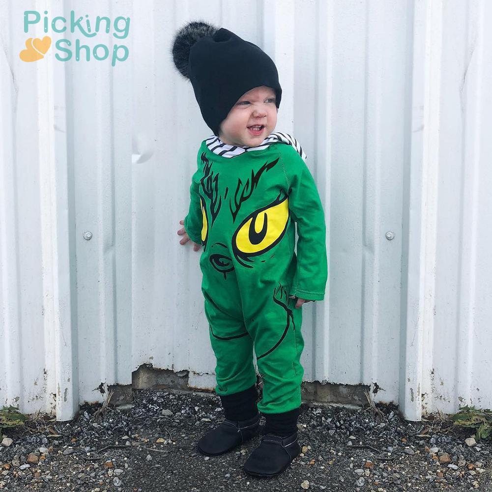 Newborn Boy Cartoon Monster Print Hooded Rompers Kids Long Sleeve Jumpsuit