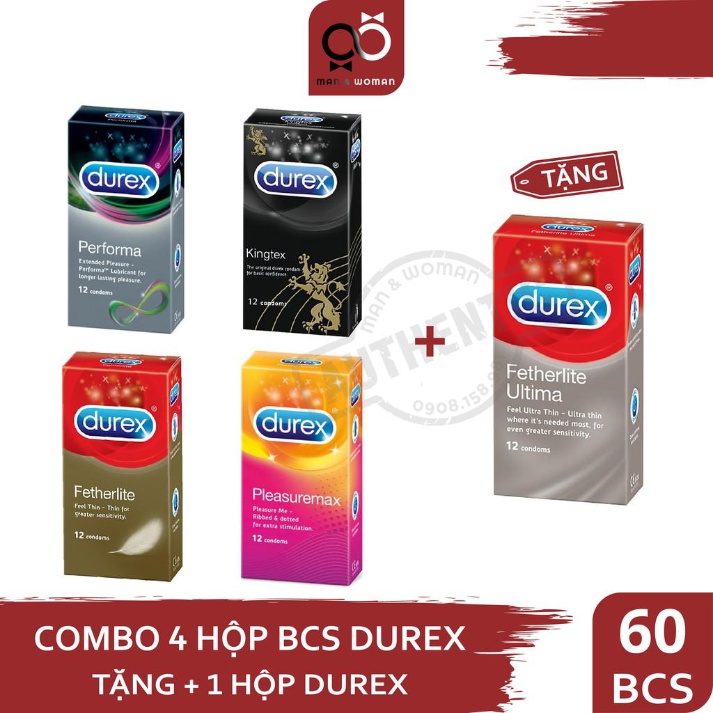 COMBO 5 hộp Bao cao su Durex Kingtex, Performa, Pleasuremax, FetherliteUltima, Invisible CB021