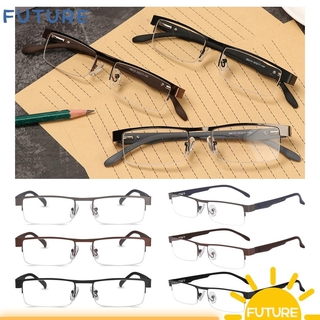 🎈FUTURE🎈 Men Eyeglasses Magnifying +1.00~+4.0 Diopter Business Reading Glasses Flexible Portable Ultra Light Resin New Fashion Metal Titanium Alloy Eye wear Vision Care/Multicolor