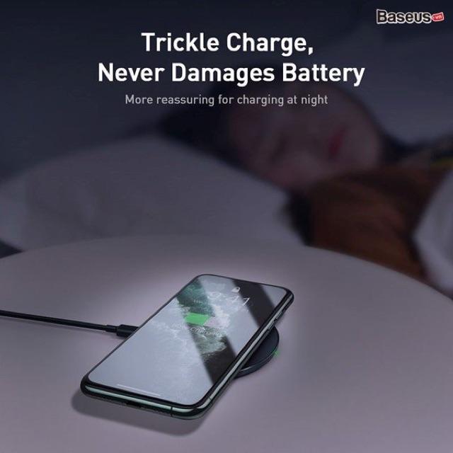 Đế sạc nhanh không dây 15W Baseus Simple Wireless Charger cho iPhone/Samsung/Xiaomi/ Huawei
