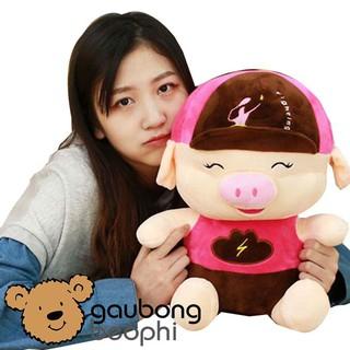 Gấu Bông Heo, Lợn Đội Nón Snapback – Cao 40cm – Màu Ngẫu Nhiên – Vải Nhung Siêu Mịn – Quà Tặng Valentine 14/2 Cho Nàng