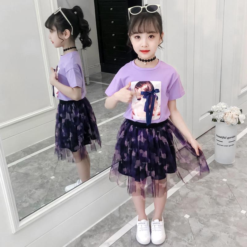 Set Áo Thun Và Chân Váy Ren Phong Cách Hàn Quốc Cho Bé Gái