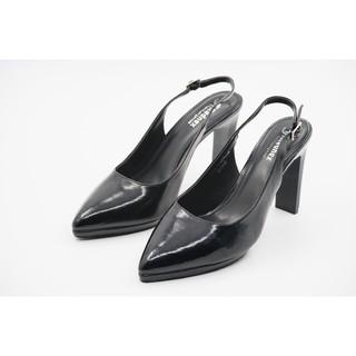 Giày Sandal Cao Gót Nữ F.REDNEX Slingback Gót Thanh Cao 9cm Da Bóng Đế Đúp Màu Đen - TH13448
