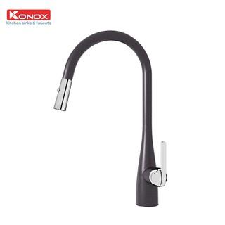 Vòi rửa bát rút dây KONOX Curva Black, bề mặt xử lý mạ PVD Granite, lõi hợp kim đồng 61% tiêu chuẩn Châu Âu CW617N