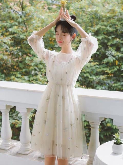 Đầm công chúa đính sao Ulzzang kèm ảnh thật 👑🌨