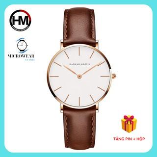 Đồng hồ nữ HANNAH MARTIN siêu mỏng hàng chính hãng máy Nhật cao cấp dây da sang trọng thumbnail