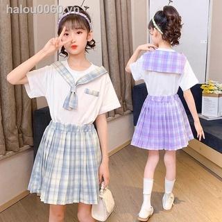 ✿Ready stock✿ girls's T-shirt Girls College Wind Set Children s Half-length Skirt Princess Skirt 2021 New Western Style T-shirt Pleated Skirt Two-piece Set 6