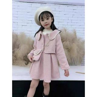 Áo khoác - Váy dạ xếp li 2 lớp - Túi siêu xinh