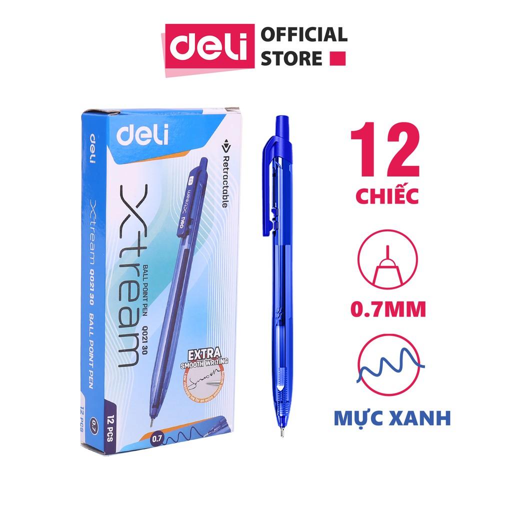 Bút bi dầu Deli - 0.5mm/0.7mm đầu bấm - mực Xanh/Đen/Đỏ -12 chiếc/hộp -EQ02030/EQ02130