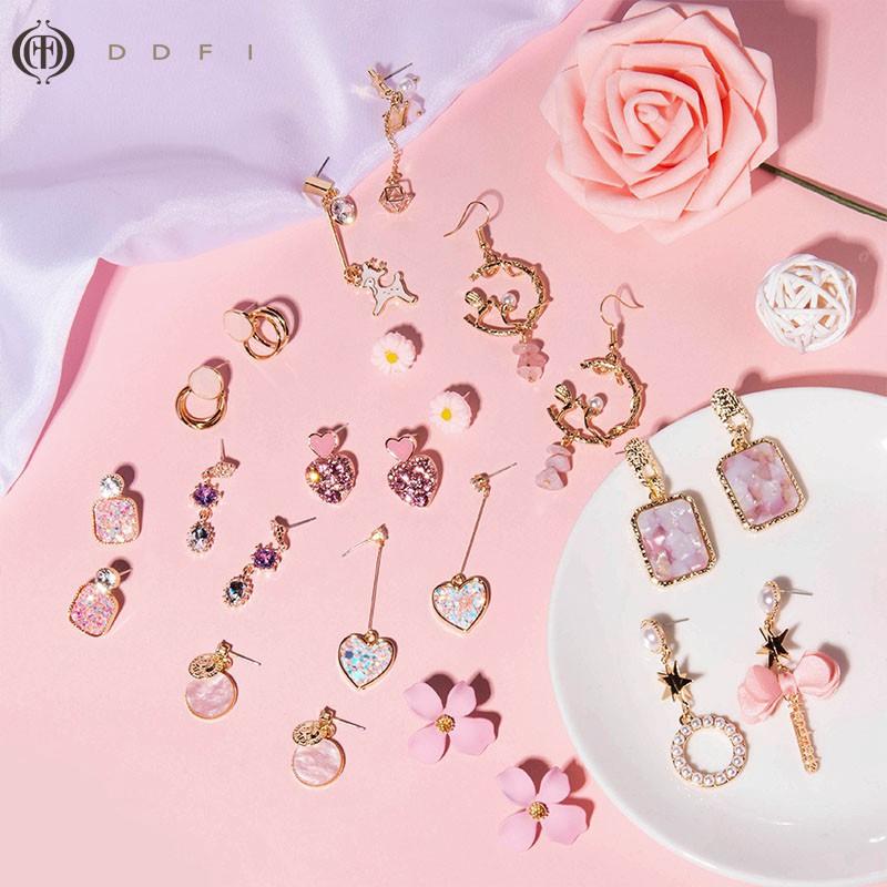 DDFI - pink series earrings Bông tai màu hồng dễ thương Trang sức tinh tế ngọt ngào