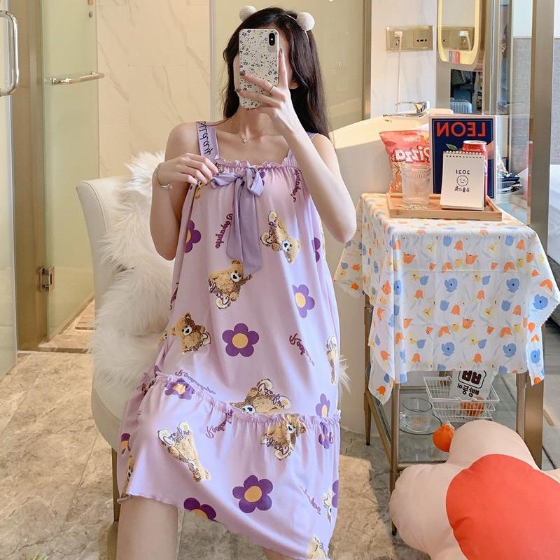 Mặc gì đẹp: Dễ chịu với Váy ngủ 2 dây, đầm bầu CHẤT THUN SỮA MỀM MẠI  freesize từ 45-65 kg bầu mặc thoải mái V284