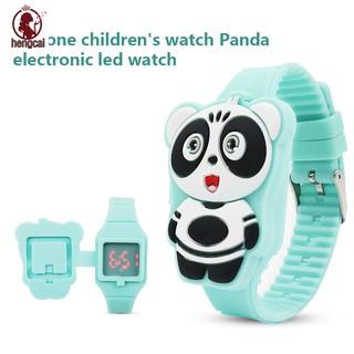 Đồng hồ điện tử dây silicon hình gấu trúc dễ thương cho bé