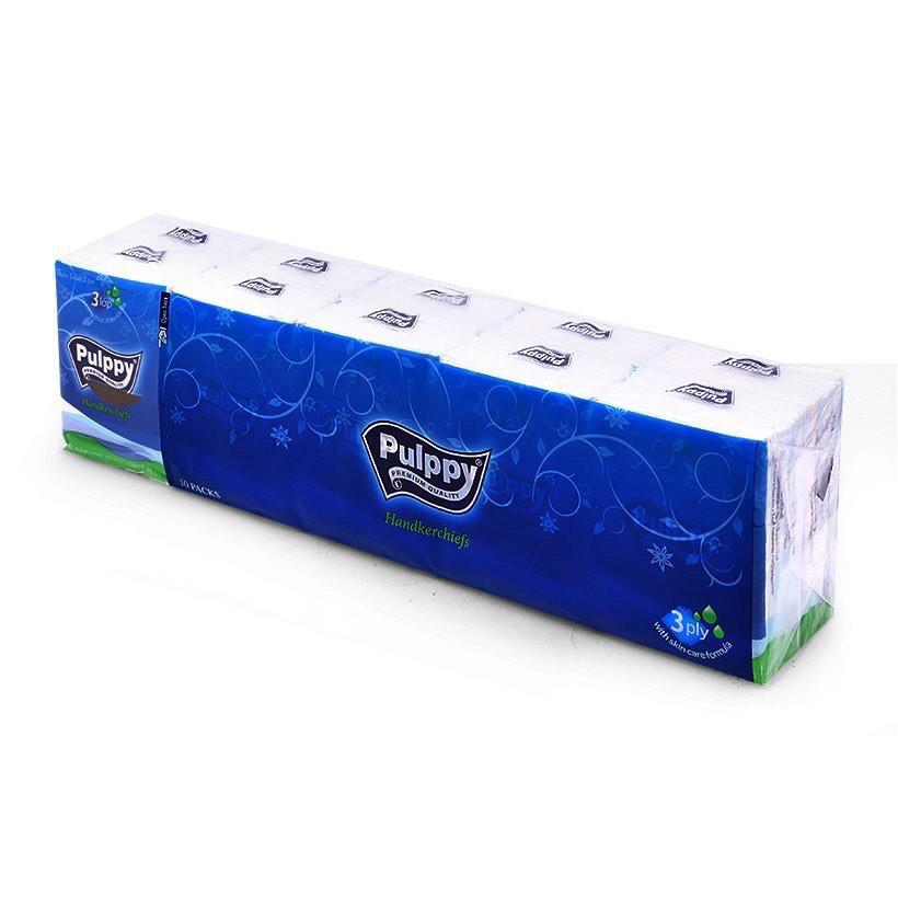 Combo 10 Khăn giấy lụa bỏ túi Pulppy 3 lớp 10 tờ