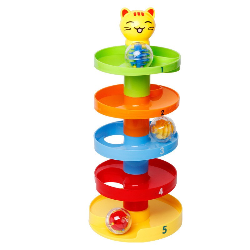 5 Layer Ball Drop Roll Swirling Tower for Baby Toddler Development Educational Toys